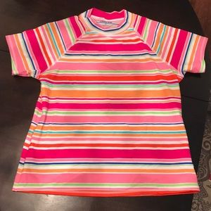 Lands End Colorful Stripe Rash-guard Swim Top